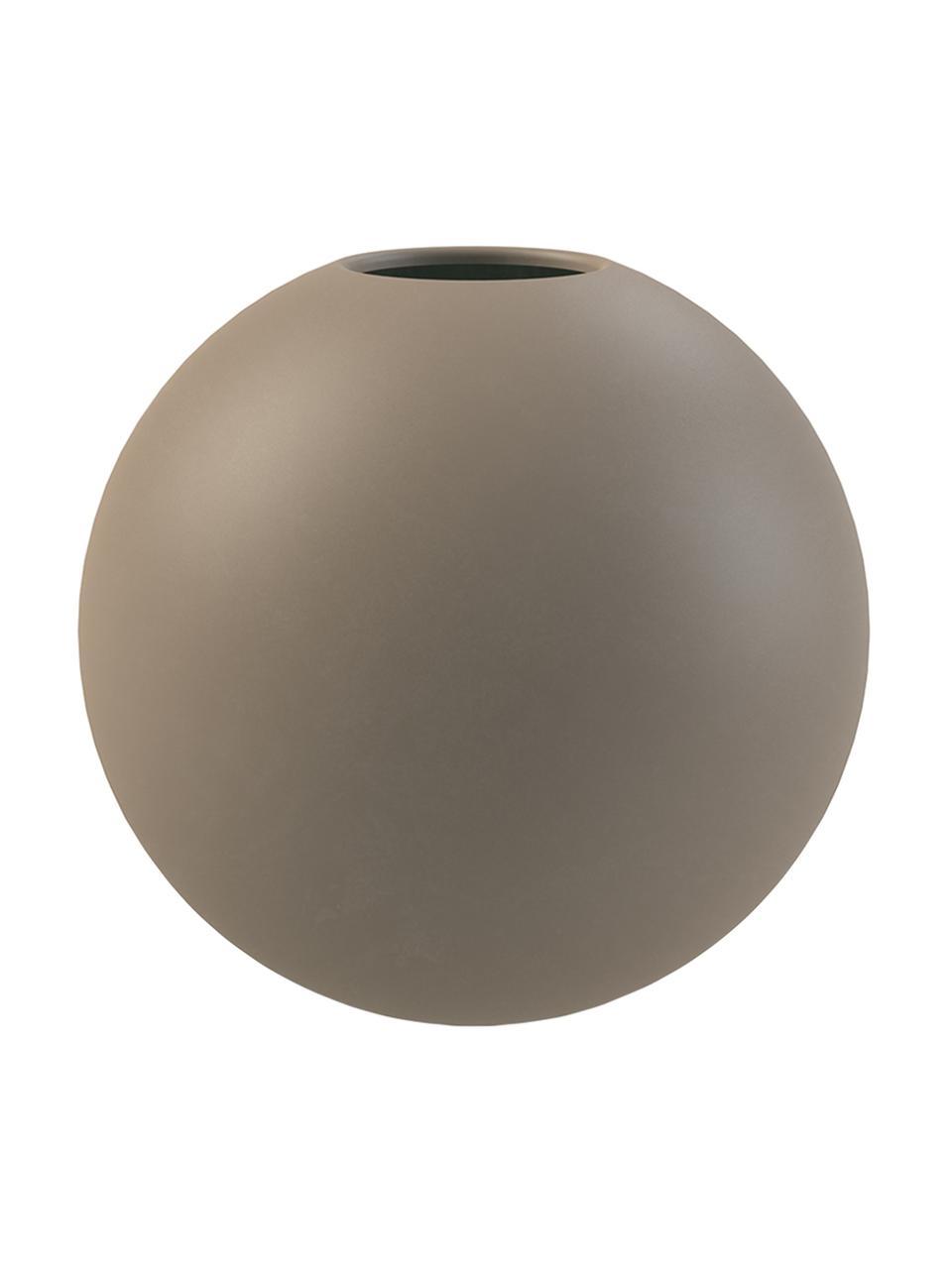 Handgefertigte Kugel-Vase Ball, Keramik, Taupe, Ø 10 x H 10 cm