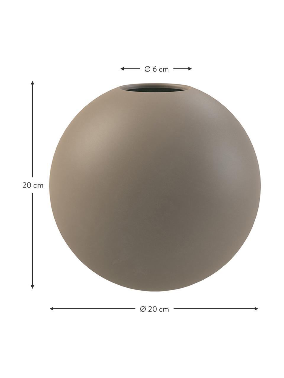 Vaso a sfera fatto a mano Ball, Ceramica, Taupe, Ø 10 x Alt. 10 cm