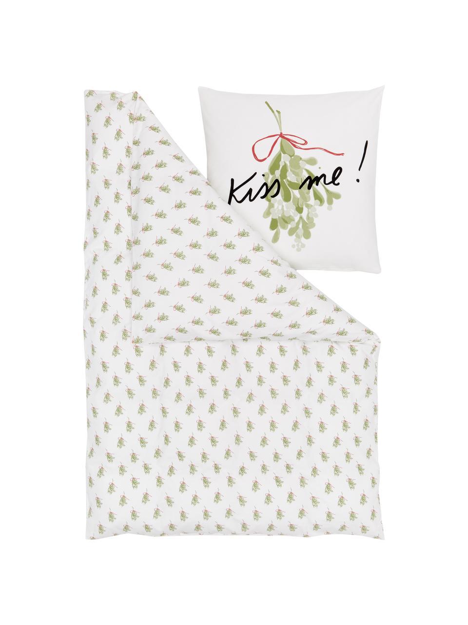 Designer Flanell-Bettwäsche Kiss Me von Kera Till, Webart: Flanell, Weiß, Grün, Schwarz, Rot, 135 x 200 cm + 1 Kissen 80 x 80 cm