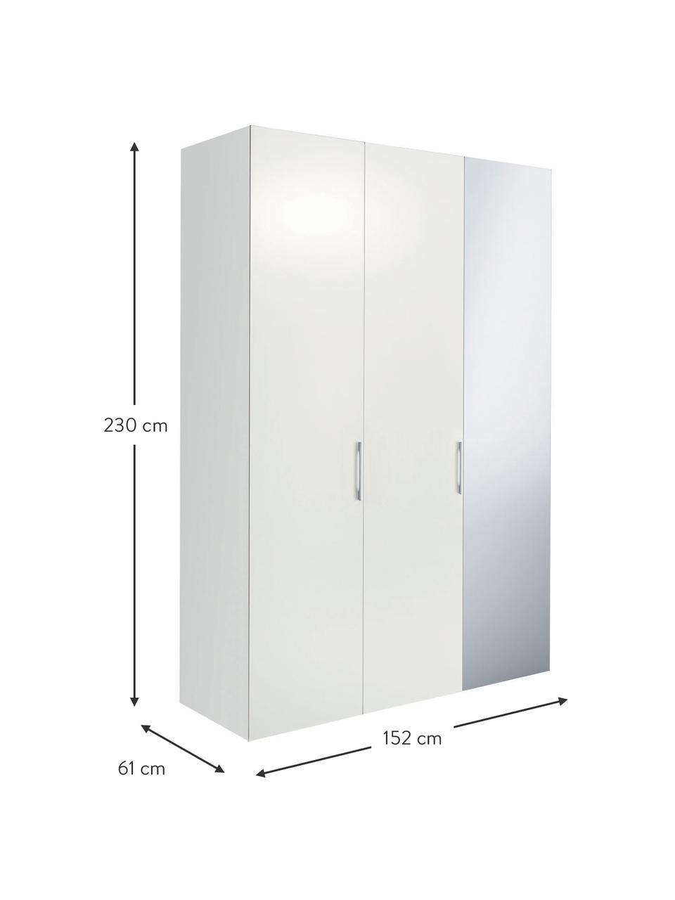 Kleiderschrank Madison 3-türig mit Spiegeltür, inkl. Montageservice, Korpus: Holzwerkstoffplatten, lac, Weiß, Mit Spiegeltür, 152 x 230 cm