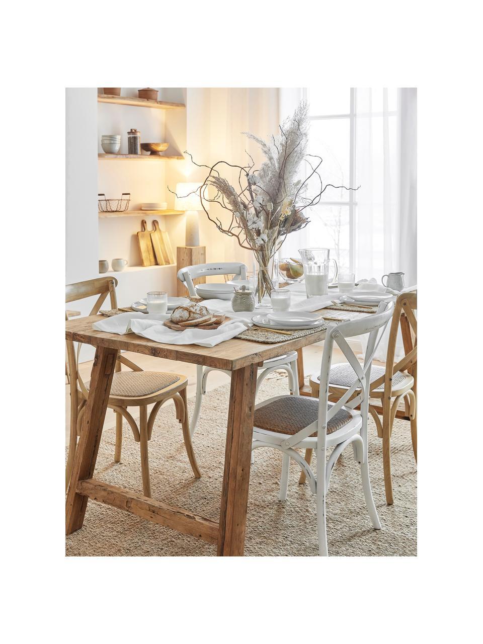 Stół do jadalni z recyklingowego drewna tekowego Lawas, Naturalne drewno tekowe, Drewno tekowe, S 220 x G 100 cm