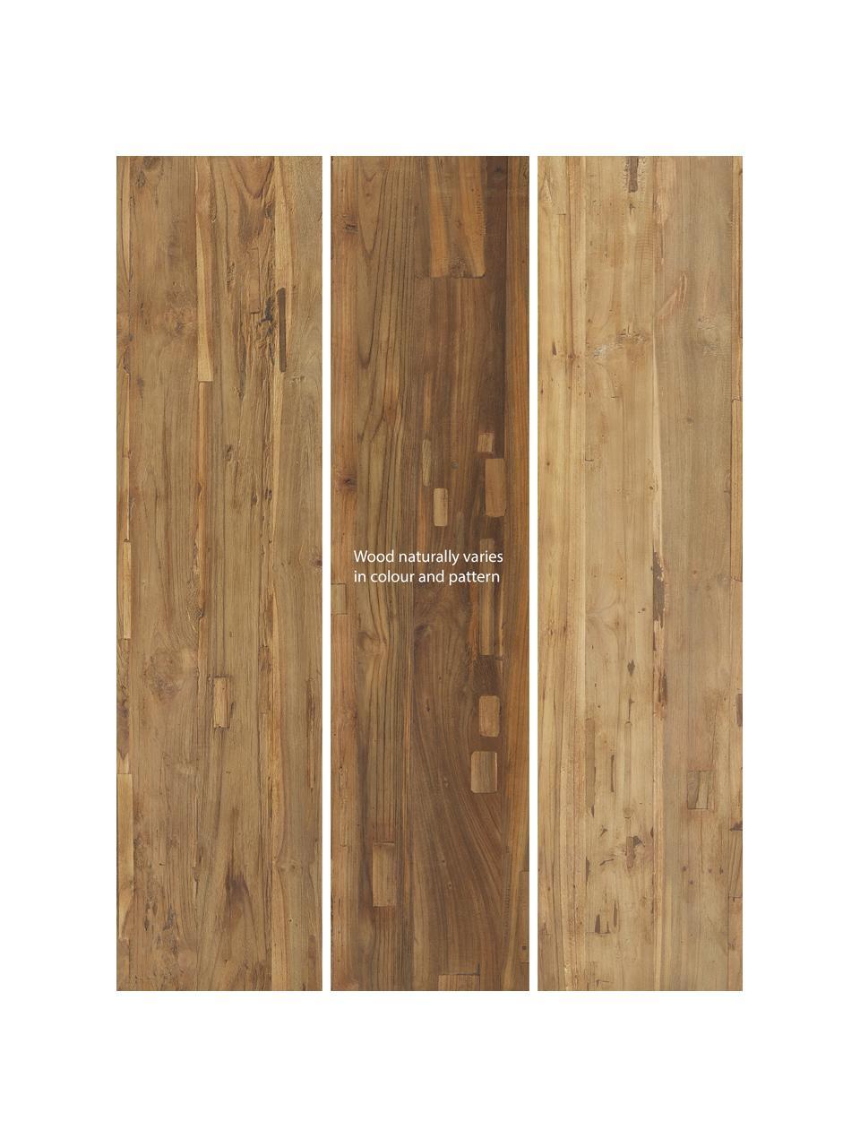 Massief houten eettafel Lawas van teakhout, Natuurlijk teakhout, Teakhoutkleurig, B 220 x D 100 cm