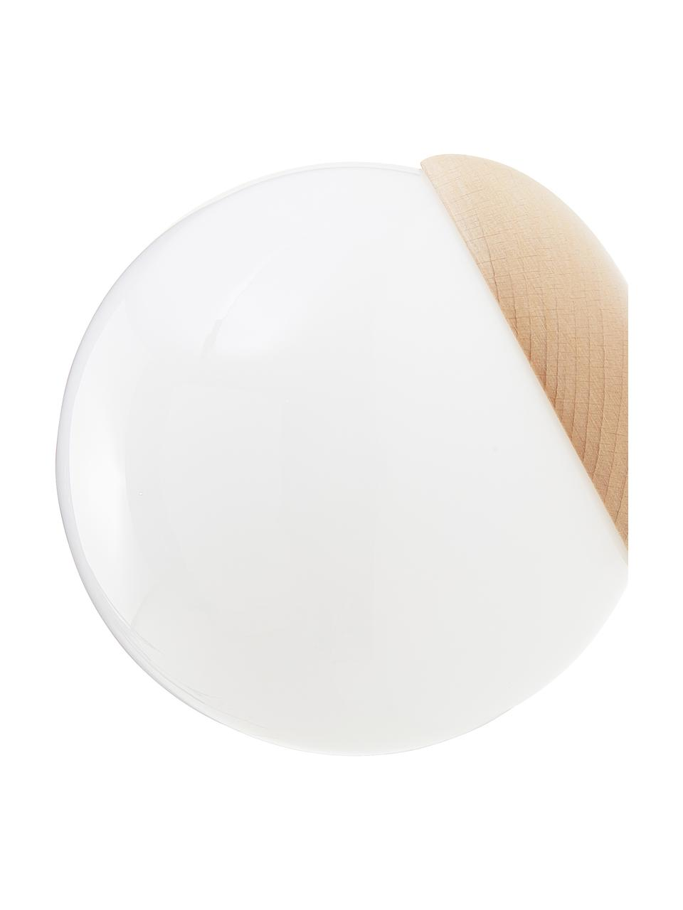 Applique in vetro opale e legno Sfera, Paralume: vetro opale, Decorazione: legno, Bianco opalino, marrone, Larg. 15 x Alt. 15 cm