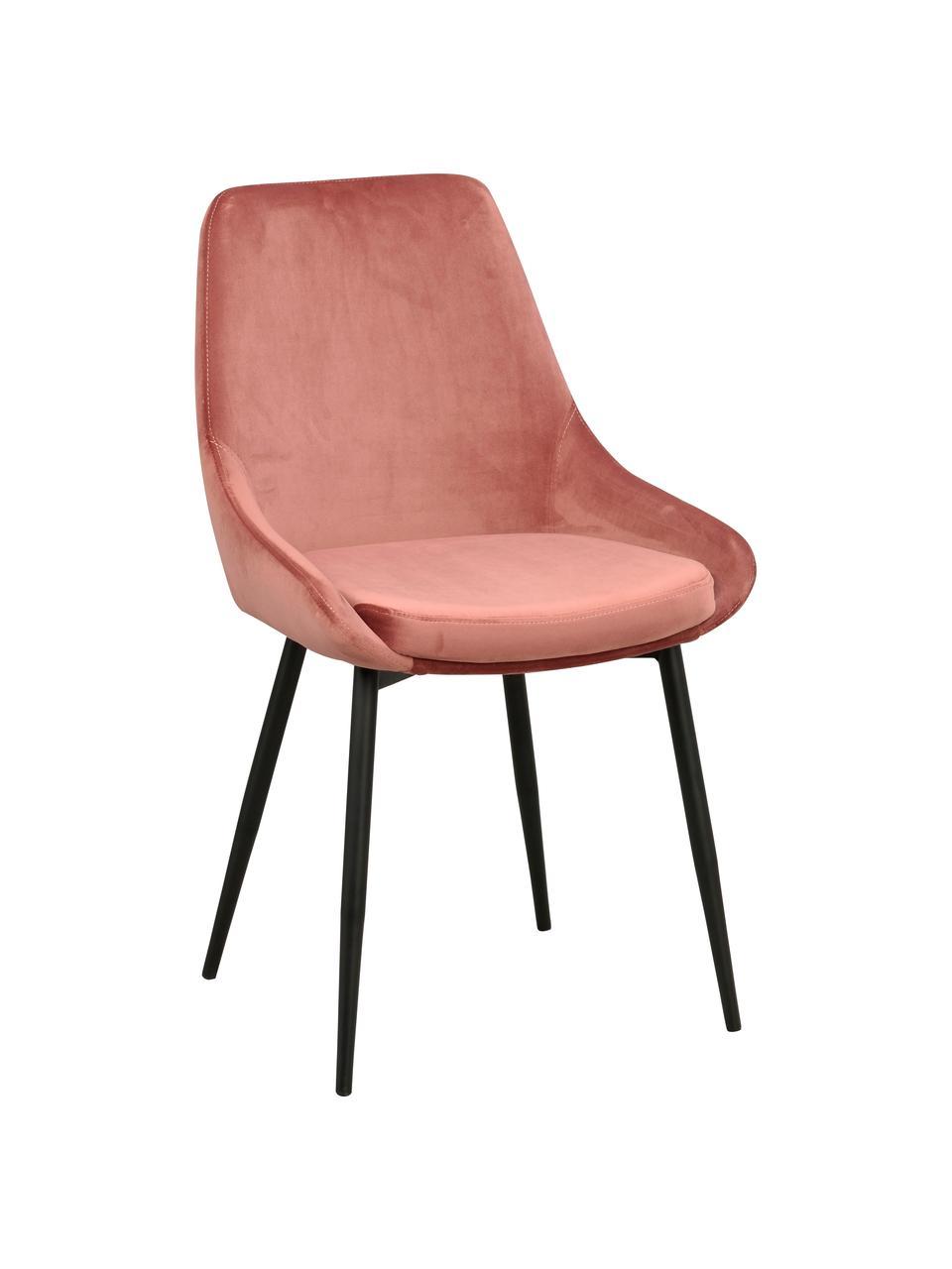 Chaise rembourrée en velours Sierra, 2pièces, Rose, noir