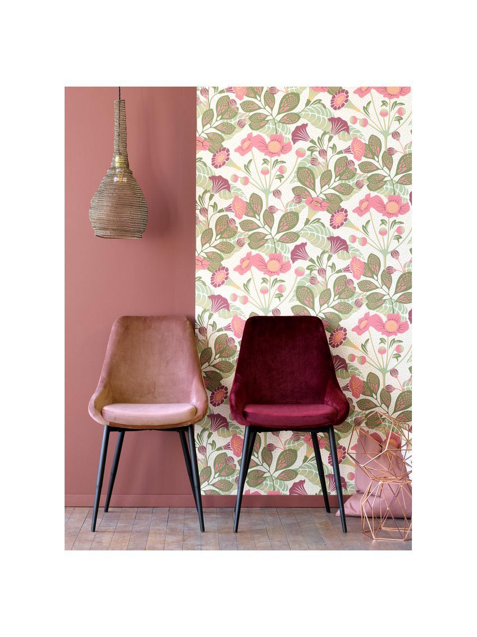 Krzesło tapicerowane z aksamitu Sierra, 2 szt., Tapicerka: aksamit poliestrowy Dzięk, Nogi: metal lakierowany, Aksamit blady różowy, nogi: czarny, S 49 x G 55 cm