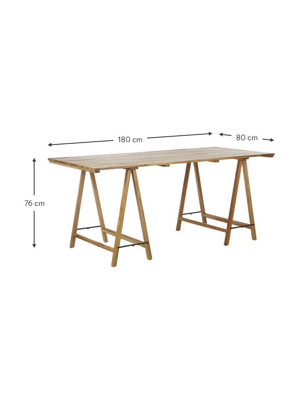 Massivholz Tisch Trestle im Skandi Design, Teakholz, naturbelassen, Teakholz, B 180 x T 80 cm