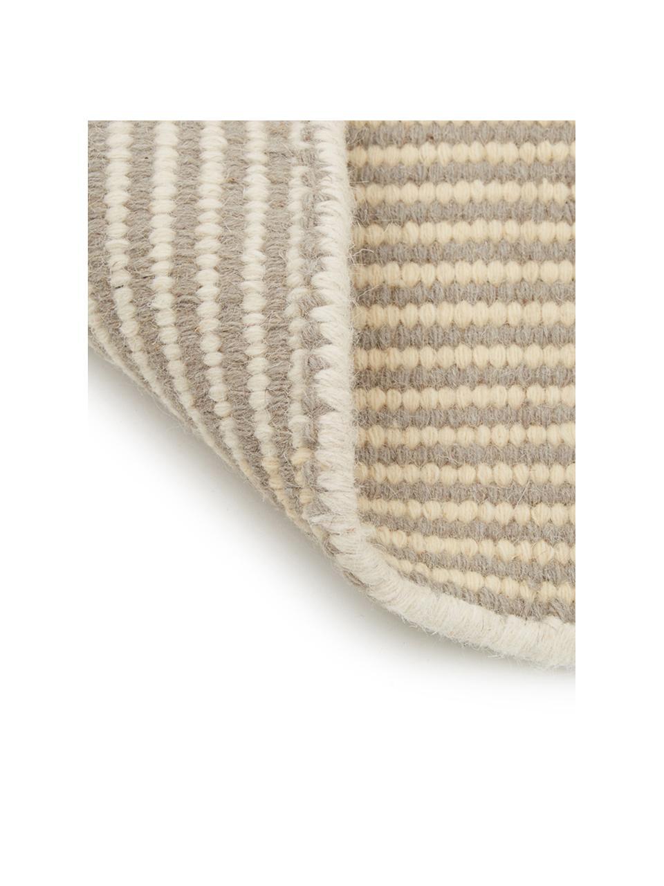 Gestreifter Kelimteppich Devise aus Wolle, handgewebt, 100% Wolle  Bei Wollteppichen können sich in den ersten Wochen der Nutzung Fasern lösen, dies reduziert sich durch den täglichen Gebrauch und die Flusenbildung geht zurück., Mehrfarbig, B 200 x L 300 cm (Größe L)