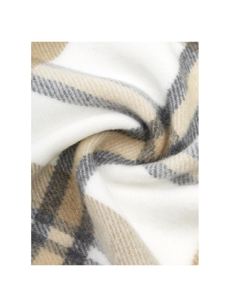 Karierte Decke Neva mit Fransenabschluss, 100% Polyacryl, Beige, 130 x 170 cm