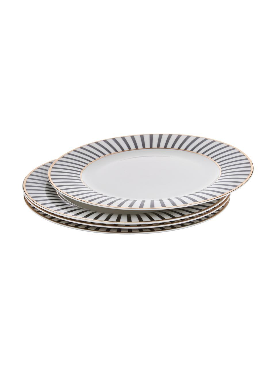 Assiette plate design en porcelaine Pluto Loft, 4pièces, Noir, blanc, couleur dorée