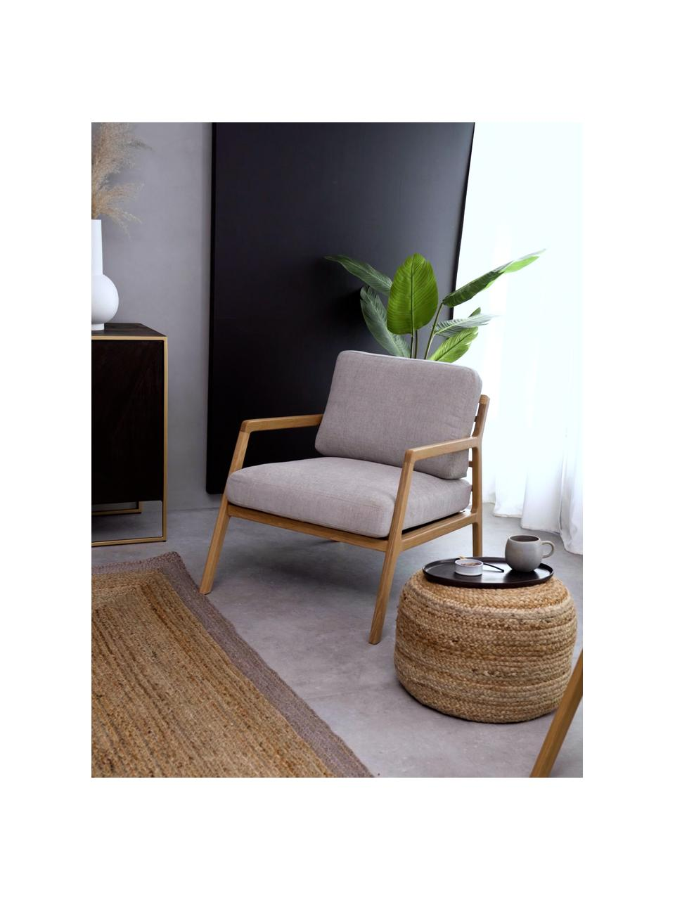 Sessel Becky aus Eichenholz, Bezug: Polyester Der hochwertige, Gestell: Massives Eichenholz, Webstoff Grau, Eichenholz, B 73 x T 90 cm