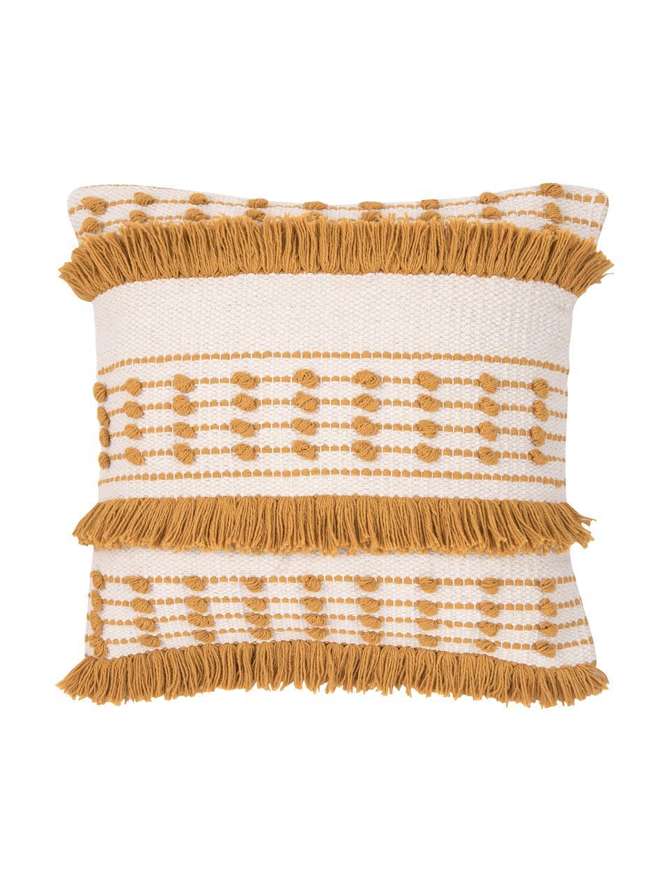 Poszewka na poduszkę boho Tulika, 100% bawełna, Żółty, beżowy, S 45 x D 45 cm