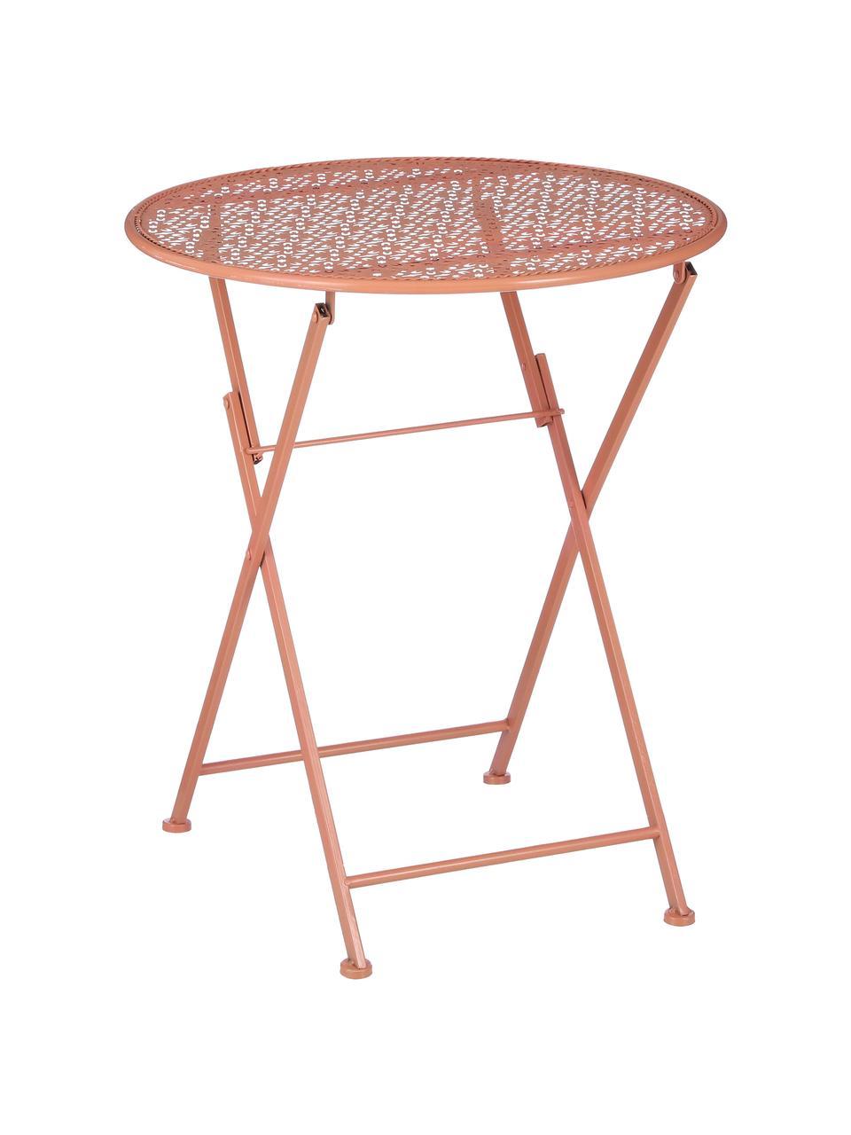 Inklapbaar balkontafel Ninet, Gecoat metaal, Terracottarood, Ø 60 x H 70 cm