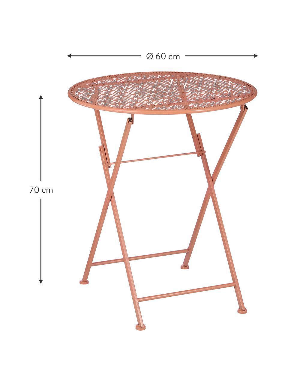 Tavolo pieghevole da balcone Ninet, Metallo rivestito, Terracotta, Ø 60 x Alt. 70 cm