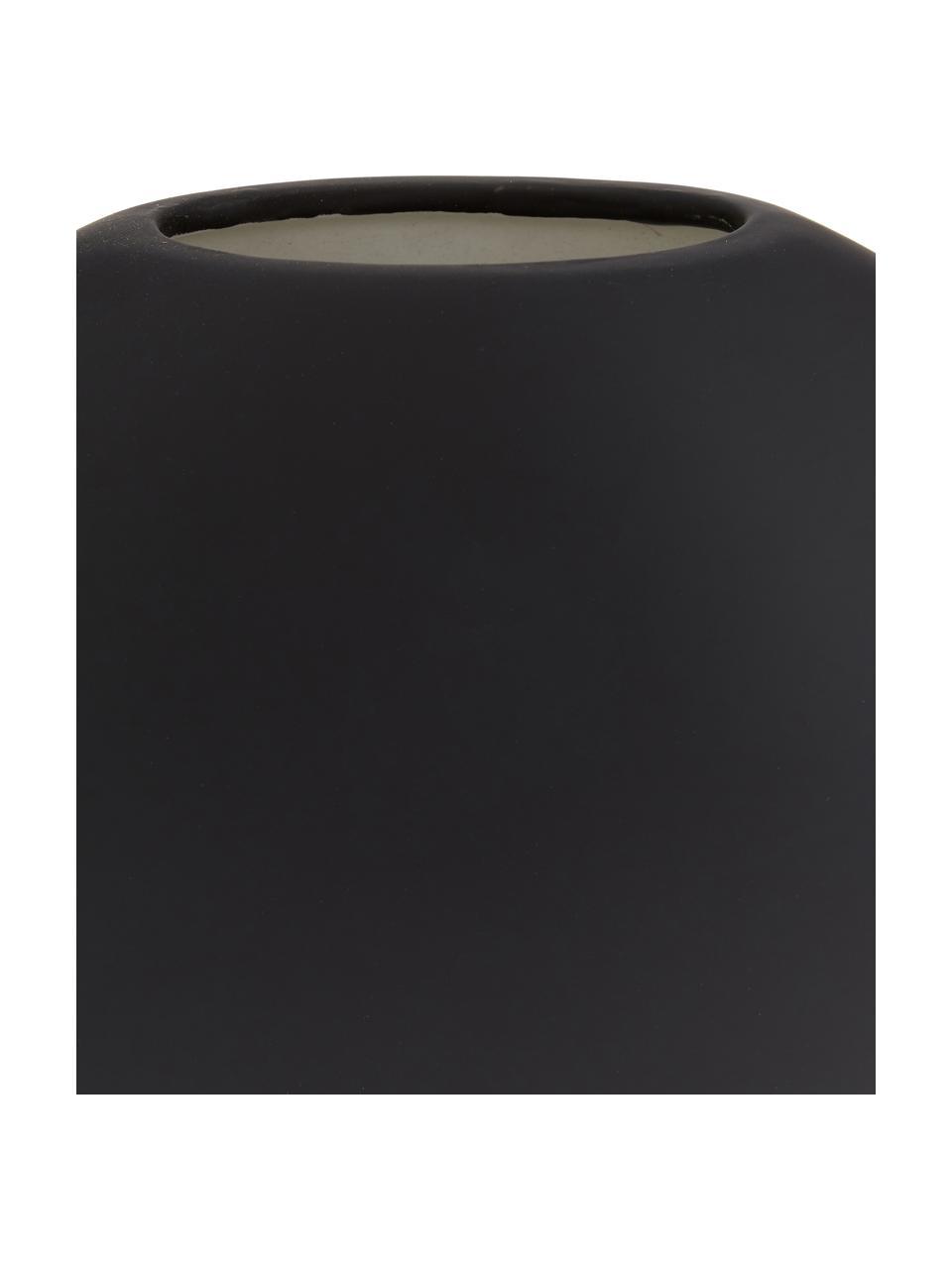 Handgefertigte Keramik-Vase Pastille, Keramik, Schwarz, 20 x 19 cm
