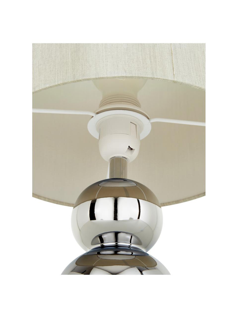 Lampada da tavolo in ceramica Regina, Paralume: tessuto, Base della lampada: ceramica, Taupe, cromo, Ø 25 x Alt. 49 cm