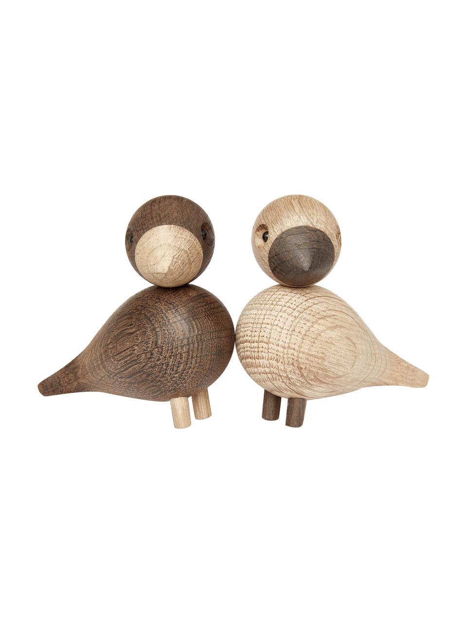 Komplet dekoracji Lovebirds, 2 elem., Drewno dębowe, lakierowane, Jasny brązowy, ciemnybrązowy, S 9 x W 9 cm