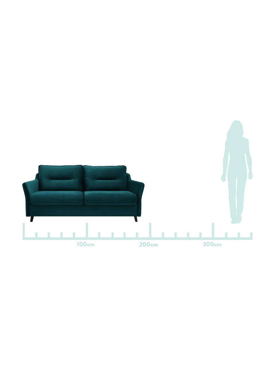Sofa rozkładana z aksamitu Loft (3-osobowa), Tapicerka: 100% aksamit poliestrowy , Nogi: metal lakierowany, Szmaragdowy, S 191 x G 100 cm