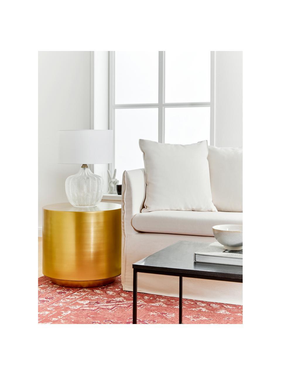 Lampada da tavolo con base in vetro Sue, Paralume: tessuto, Base della lampada: vetro, metallo ottonato, Paralume: bianco Base della lampada: trasparente, ottone spazzolato, Ø 33 x Alt. 47 cm
