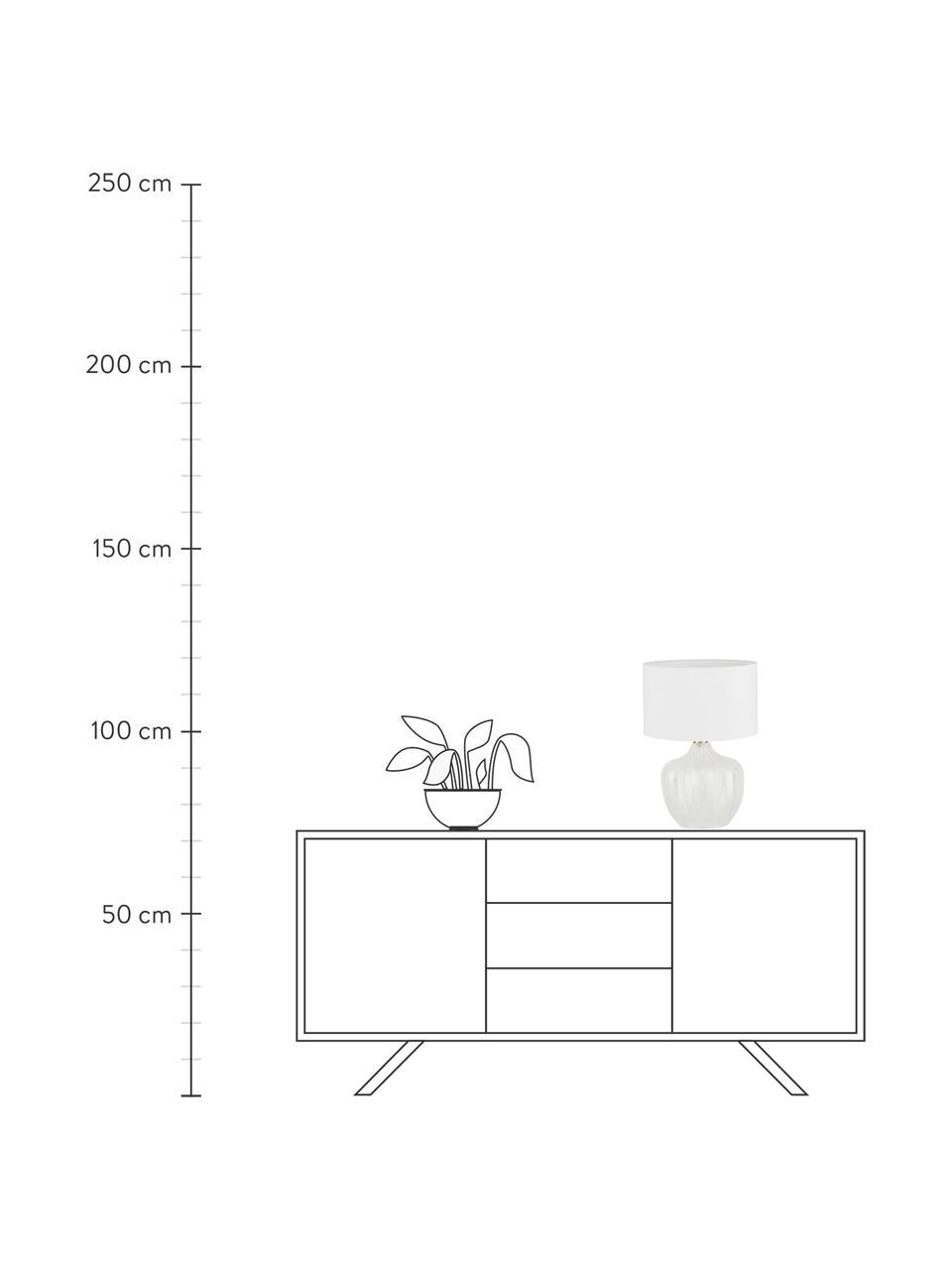 Lampa stołowa ze szklaną podstawą Sue, Klosz: biały Podstawa lampy: transparentny, mosiądz, szczotkowany, Ø 33 x W 47 cm