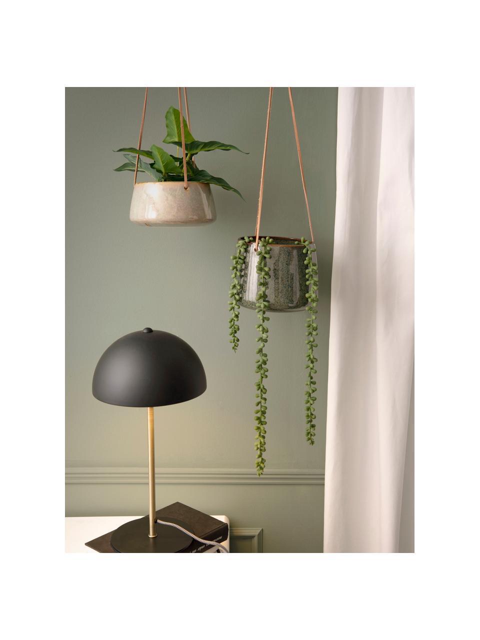 Hangende plantenpot Unique van keramiek, Keramiek, Grijs, beige, Ø 16 x H 8 cm