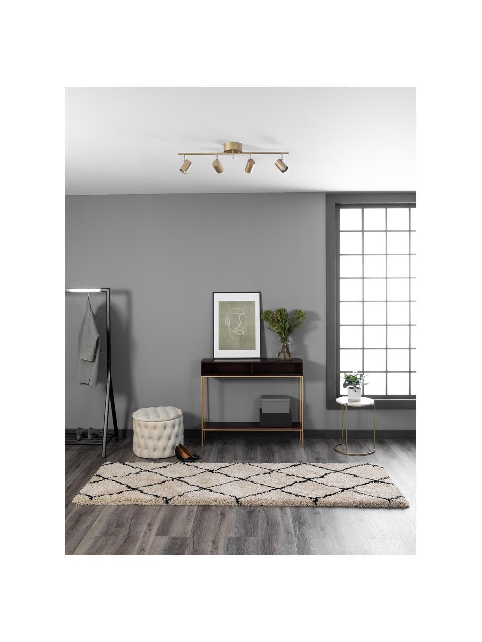 Pluizige hoogpolige loper Naima, handgetuft, Bovenzijde: 100% polyester, Onderzijde: 100% katoen, Beige, zwart, 80 x 300 cm