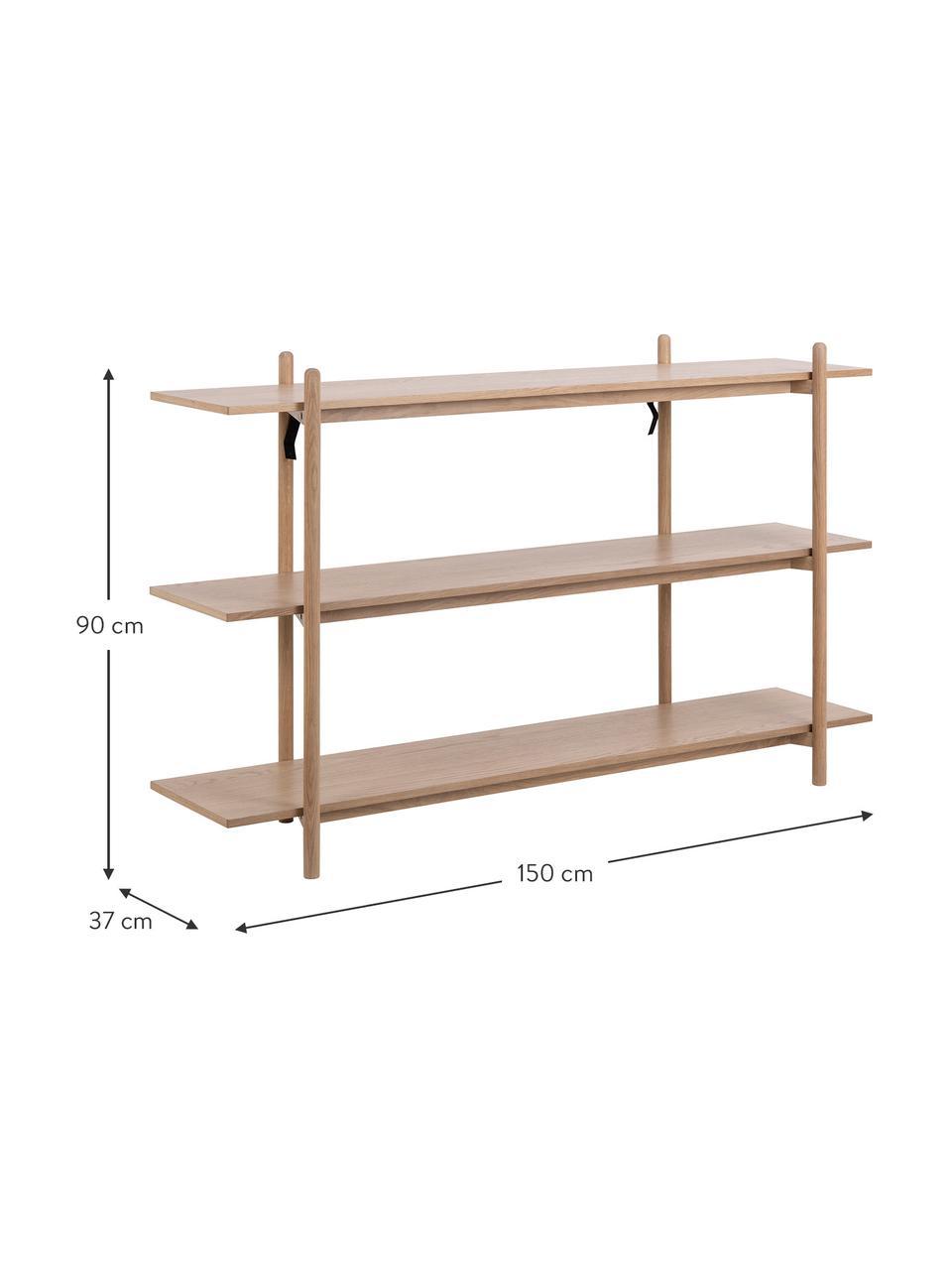 Regal Asbaek aus Holz mit 3 Ablageflächen, Mitteldichte Holzfaserplatte (MDF) mit Eichenholzfurnier, Braun, 150 x 90 cm