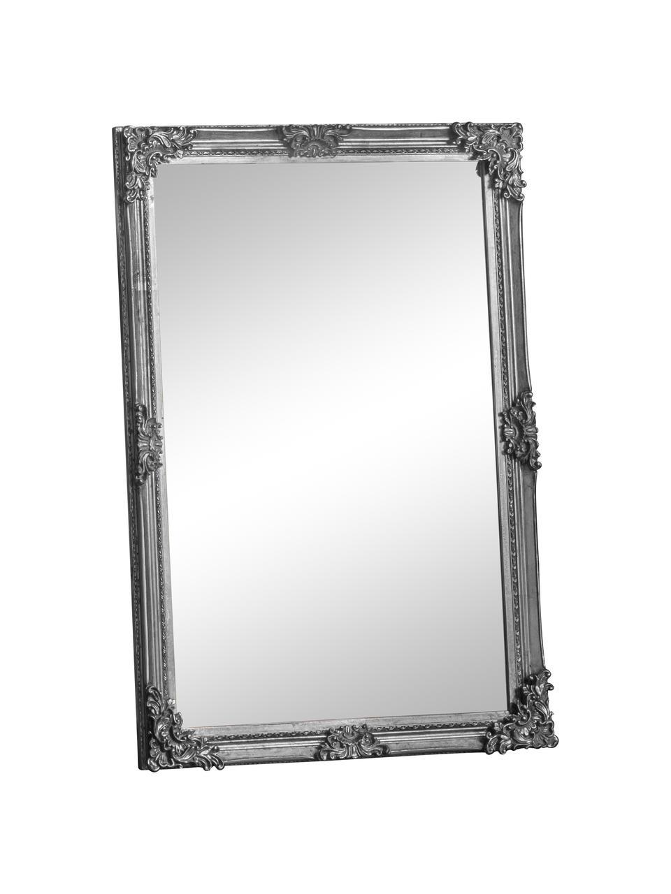 Eckiger Wandspiegel Fiennes mit Holzrahmen, Rahmen: Holz, lackiert, Spiegelfläche: Spiegelglas, Silberfarben, 70 x 103 cm