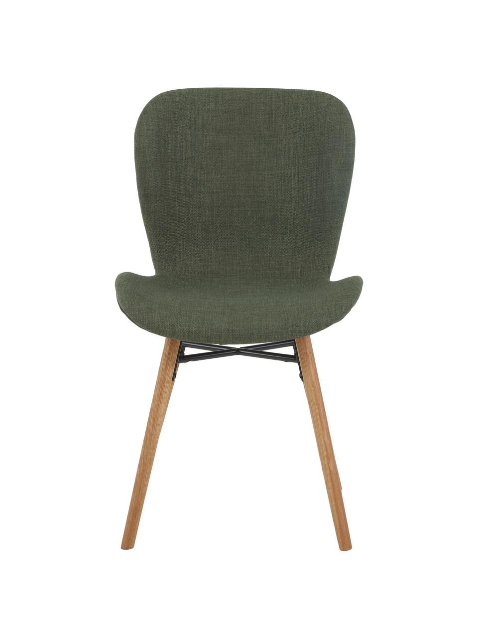 Sedia imbottita in tessuto verde Batilda 2 pz, Rivestimento: poliestere 25.000 cicli d, Gambe: Legno di quercia massicci, Tessuto verde, Larg. 56 x Alt. 47 cm