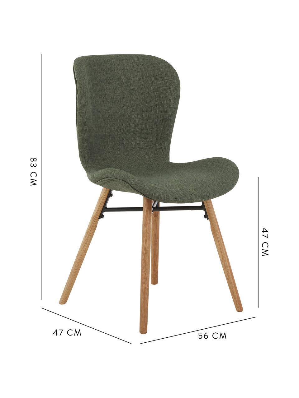 Krzesło tapicerowane Batilda, 2 szt., Tapicerka: poliester Dzięki tkaninie, Nogi: lite drewno dębowe, lakie, Zielony, drewno dębowe, S 56 x G 47 cm
