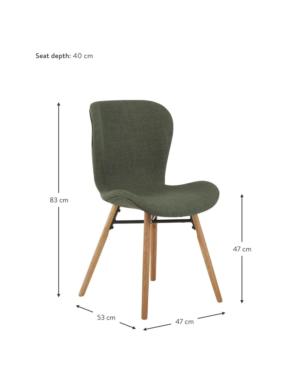 Gestoffeerde stoelen Batilda in groen, 2 stuks, Bekleding: polyester, Poten: gelakt en geolied massief, Geweven stof groen, eikenhout, B 47 x D 53 cm