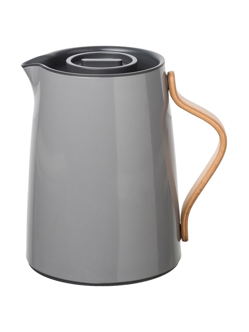 Teezubereiter Emma in Grau glänzend, 1 L, Korpus: Edelstahl, Beschichtung: Emaille, Griff: Buchenholz, Grau, 1 L