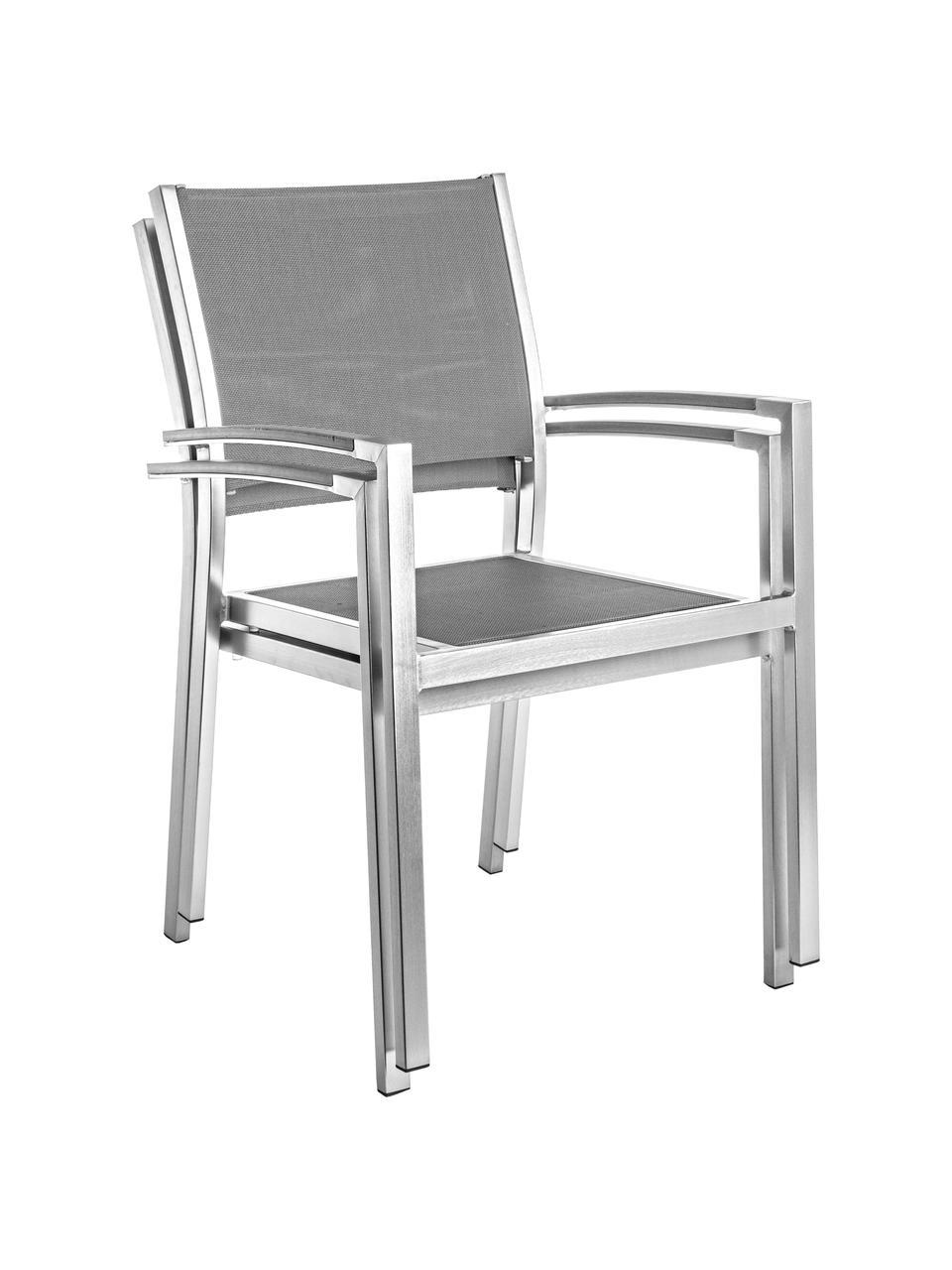 Stapelbarer Gartenstuhl Inez mit Armlehnen, Gestell: Aluminium, satiniert, Sitzfläche: Textilene, Stahl, Grau, B 54 x T 57 cm