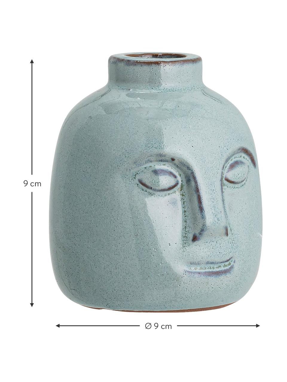 Candelabro fatto a mano Brit, Gres, Blu, Ø 9 x Alt. 9 cm
