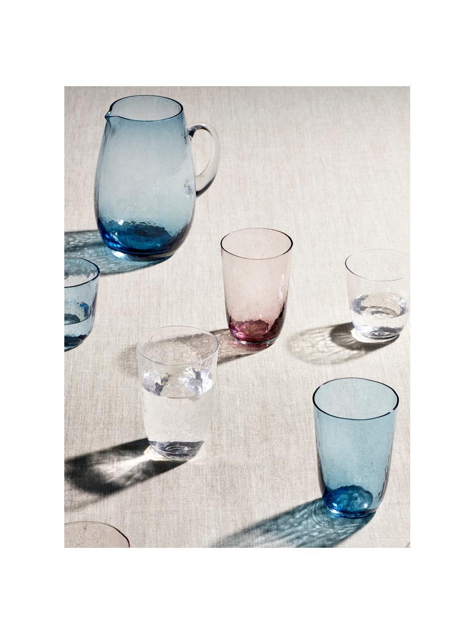 Mundgeblasene Wassergläser Hammered mit unebener Oberfläche, 4 Stück, Glas, mundgeblasen, Lila, transparent, Ø 9 x H 14 cm