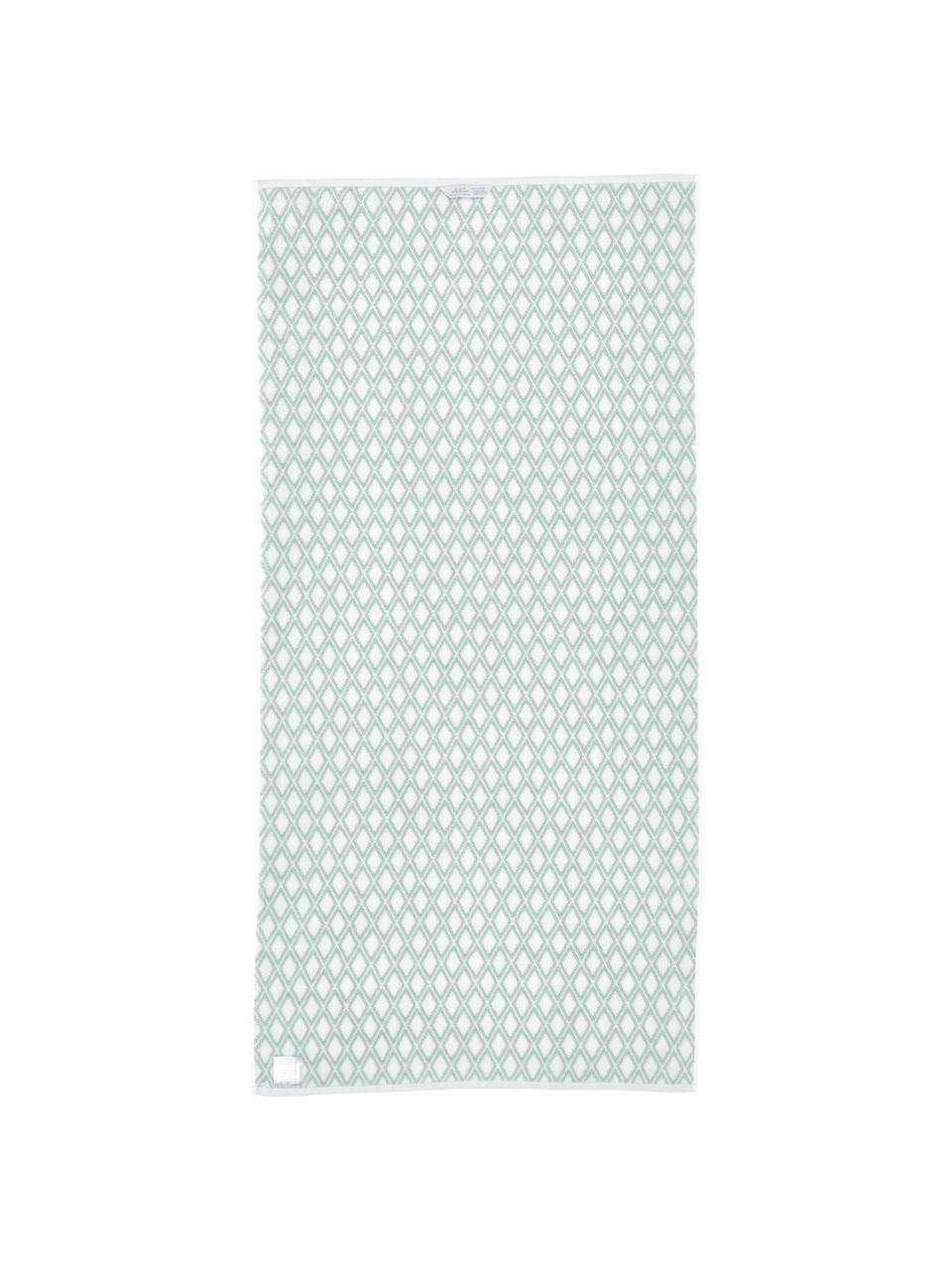 Lot de serviettes de bain réversibles Ava, 3 élém., Vert menthe, blanc crème