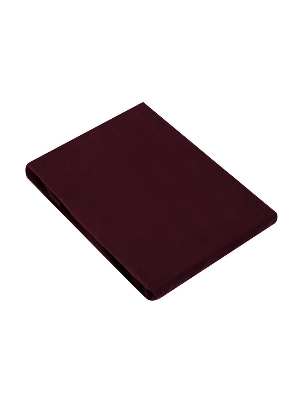 Lenzuolo con angoli in flanella Biba, Tessuto: flanella, Rosso scuro, Larg. 180 x Lung. 200 cm