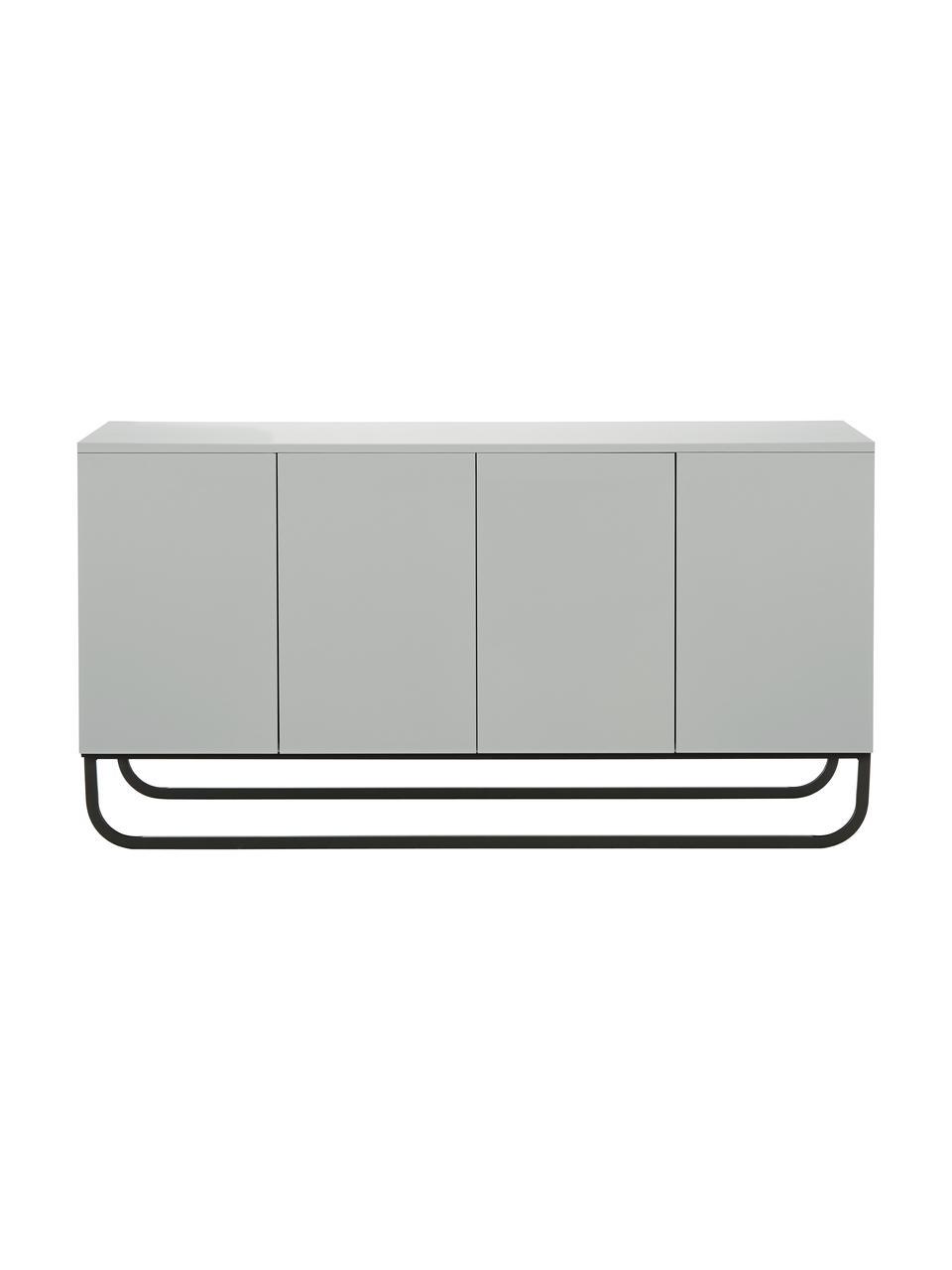 Klassiek dressoir Sanford in lichtgrijs met deuren, Frame: gelakt MDF, Poten: gepoedercoat metaal, Lichtgrijs, zwart, 160 x 83 cm