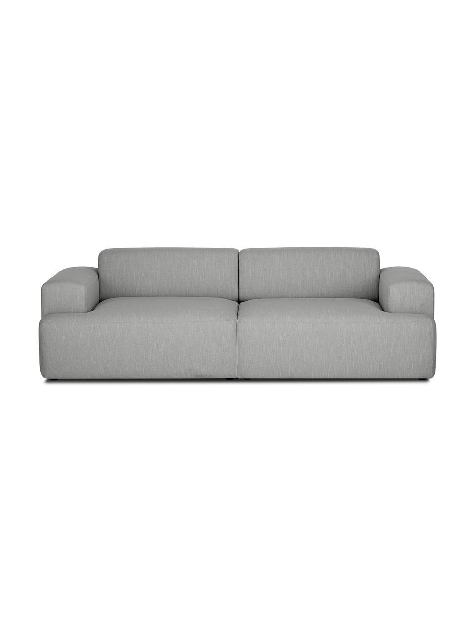 Bank Melva (3-zits) in grijs, Bekleding: polyester, Frame: massief grenenhout, spaan, Poten: grenenhout De poten bevin, Grijs, B 240 x D 101 cm
