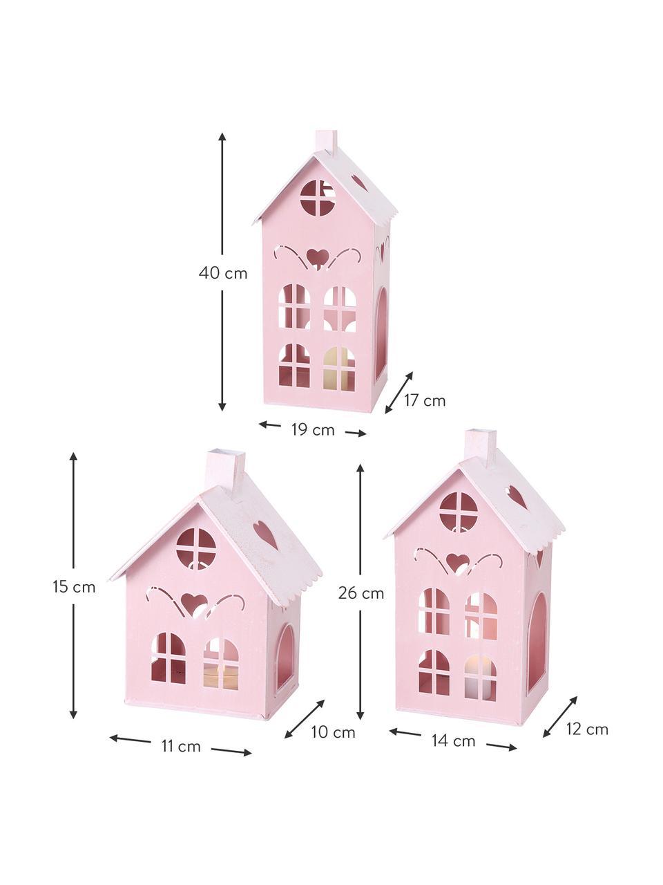 Windlichter-Set Kufstein, 3-tlg., Metall, beschichtet, Rosa, Set mit verschiedenen Grössen