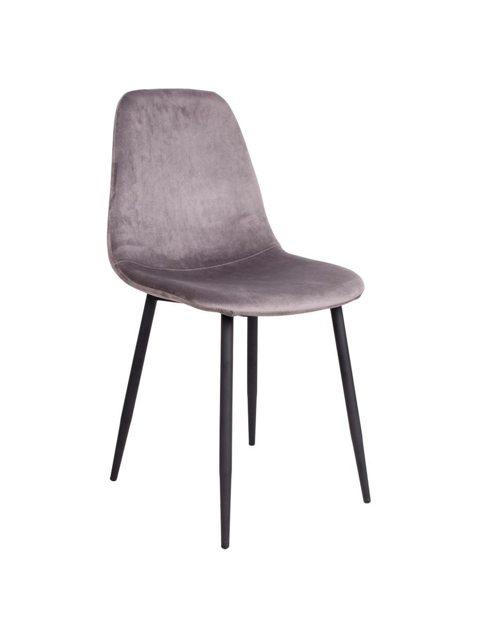 Sedia imbottita in velluto Stockholm, Rivestimento: velluto 25.000 cicli di s, Piedini: metallo verniciato, Grigio, Larg. 50 x Alt. 47 cm