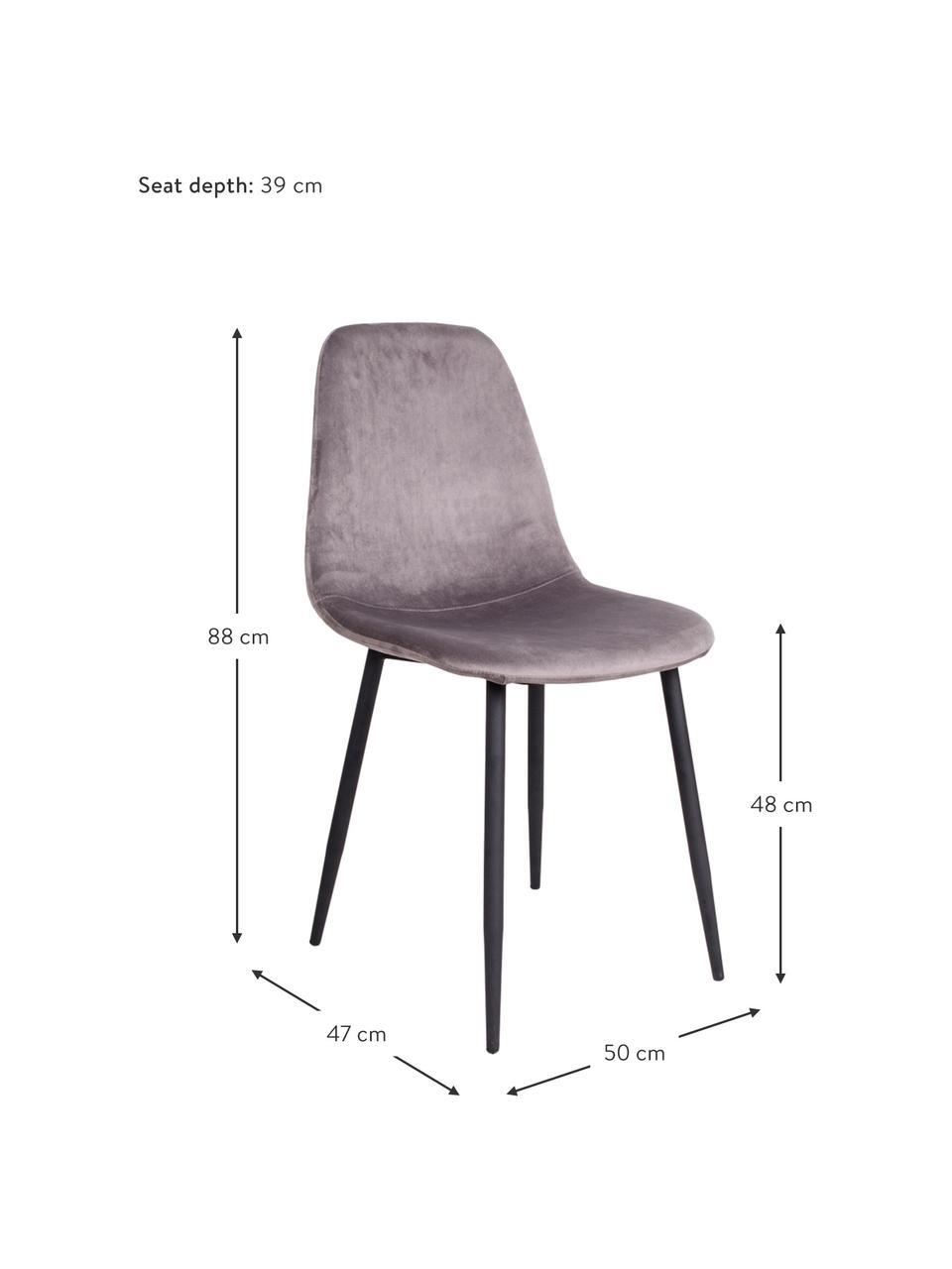 Krzesło tapicerowane z aksamitu Stockholm, Tapicerka: aksamit Dzięki tkaninie w, Nogi: metal lakierowany, Szary, S 50 x G 47 cm