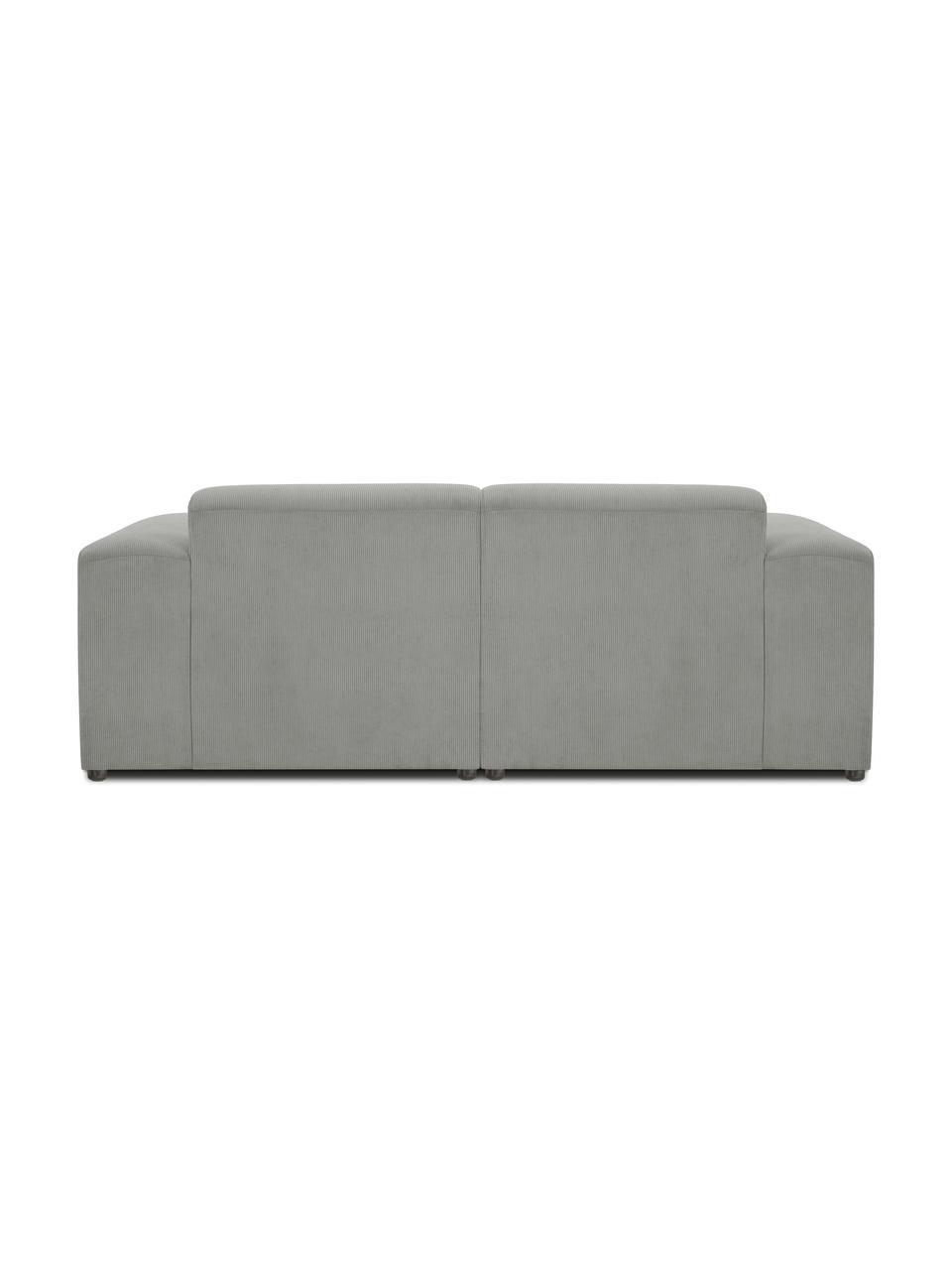Ribfluwelen bank Melva (2-zits) in grijs, Bekleding: corduroy (92% polyester, , Frame: massief grenenhout, FSC-g, Poten: kunststof, Corduroy grijs, 198 x 101 cm