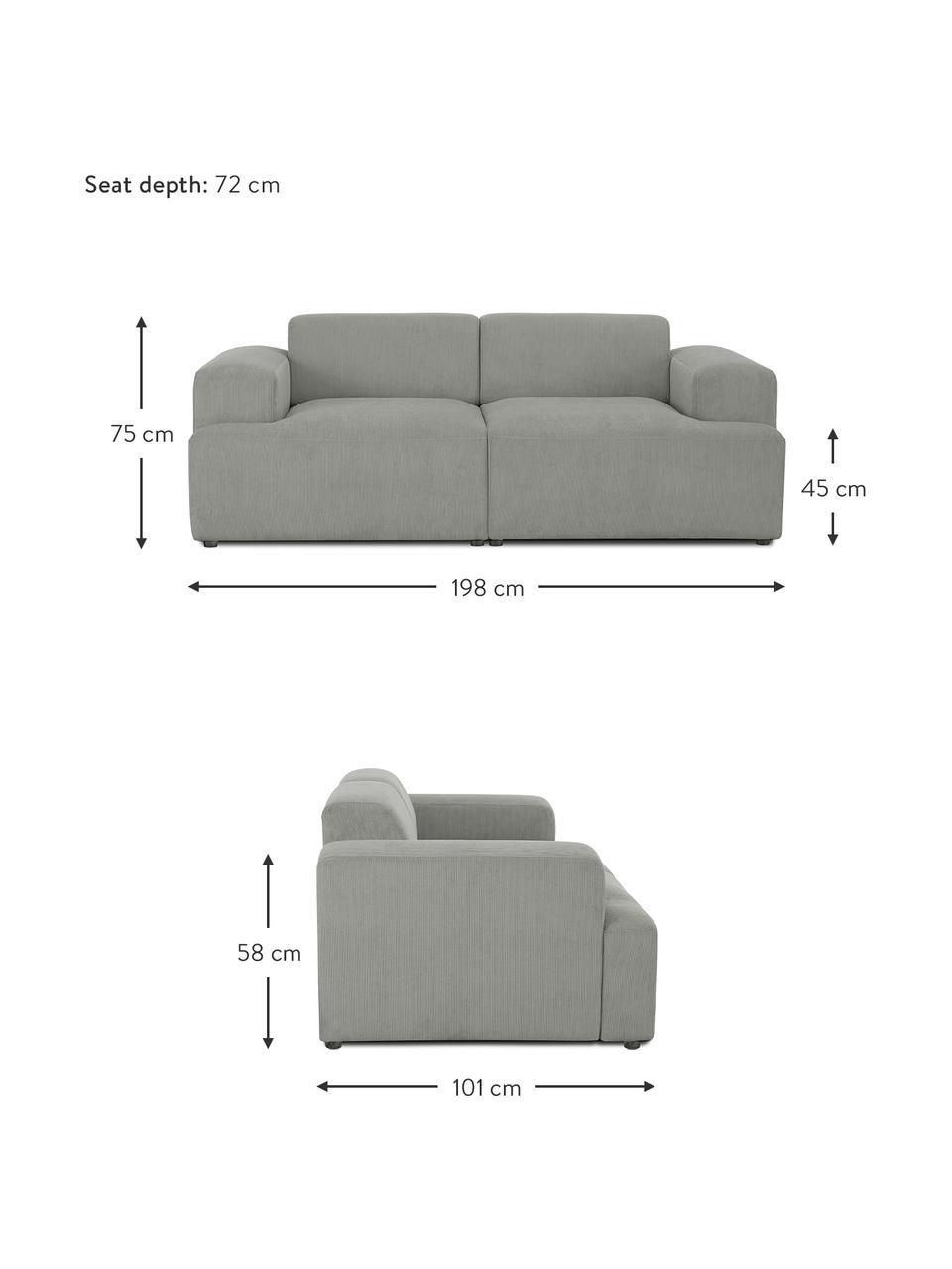 Cord-Sofa Melva (2-Sitzer) in Grau, Bezug: Cord (92% Polyester, 8% P, Gestell: Massives Kiefernholz, FSC, Füße: Kunststoff, Cord Grau, B 198 x T 101 cm