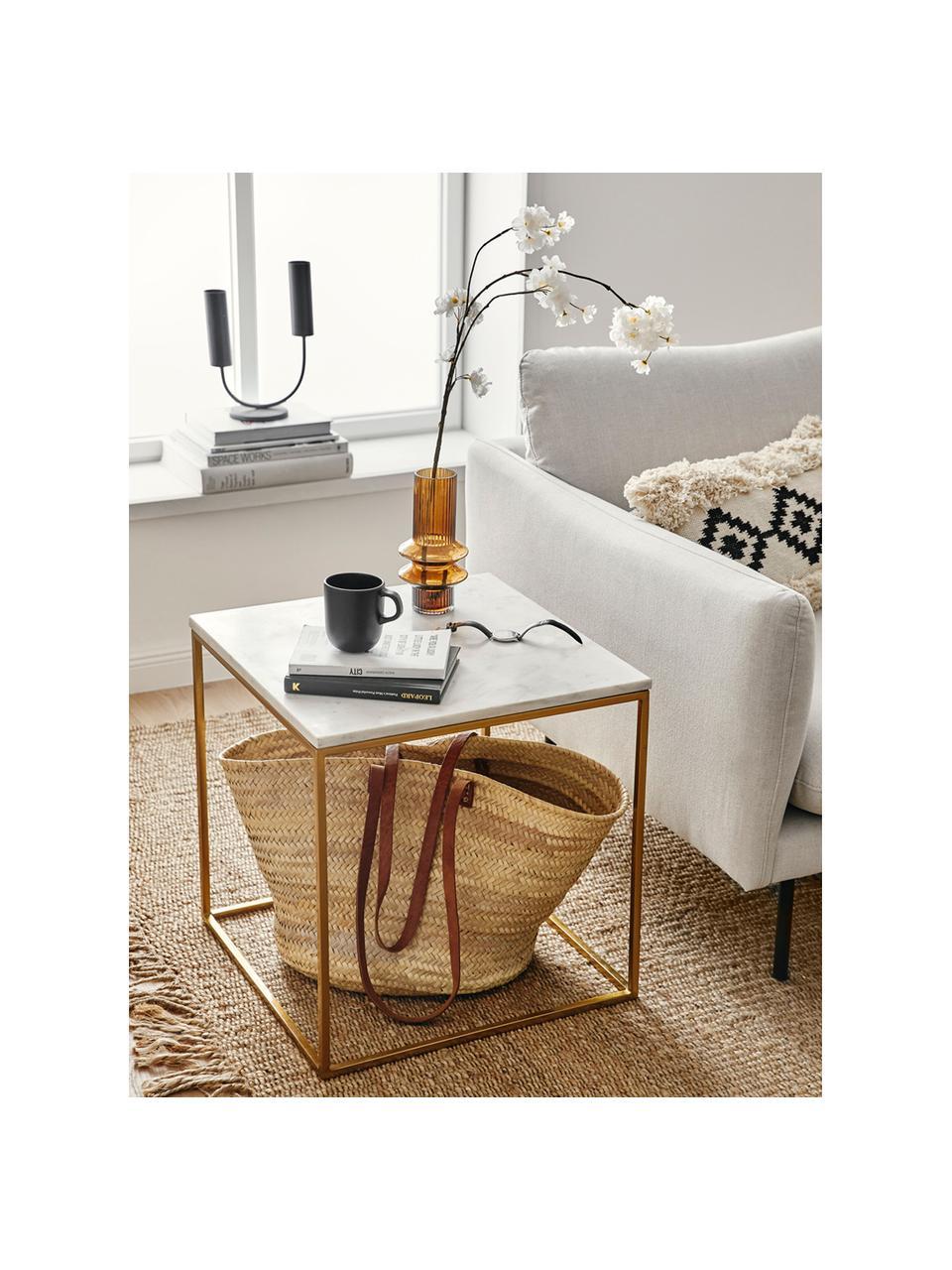 Table d'appoint marbre Alys, Plateau: marbre blanc-gris Structure: couleur dorée, brillant