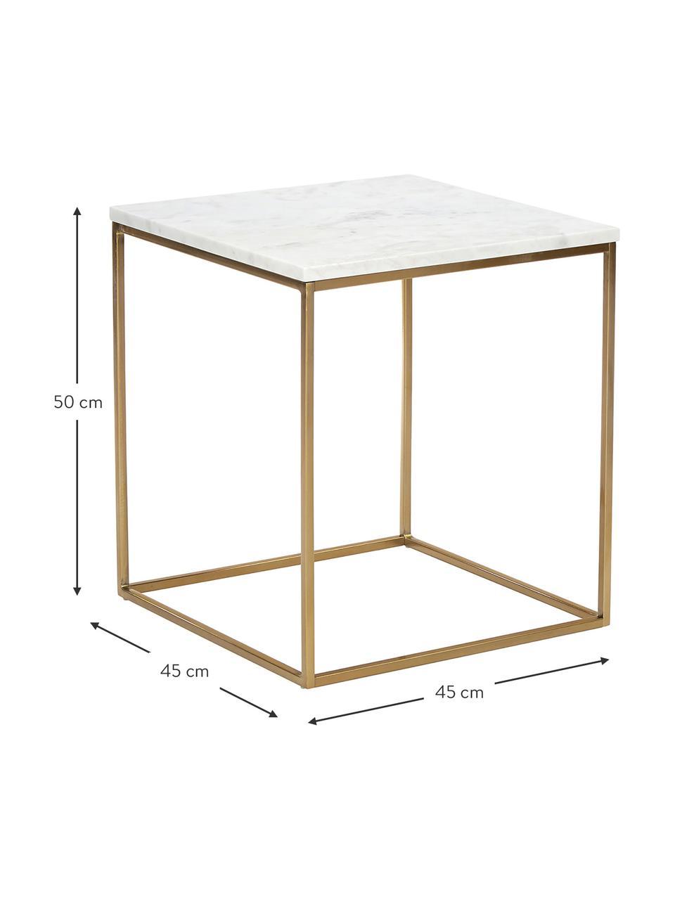 Marmor-Beistelltisch Alys, Tischplatte: Marmor, Gestell: Metall, pulverbeschichtet, Weißer Marmor, Goldfarben, 45 x 50 cm