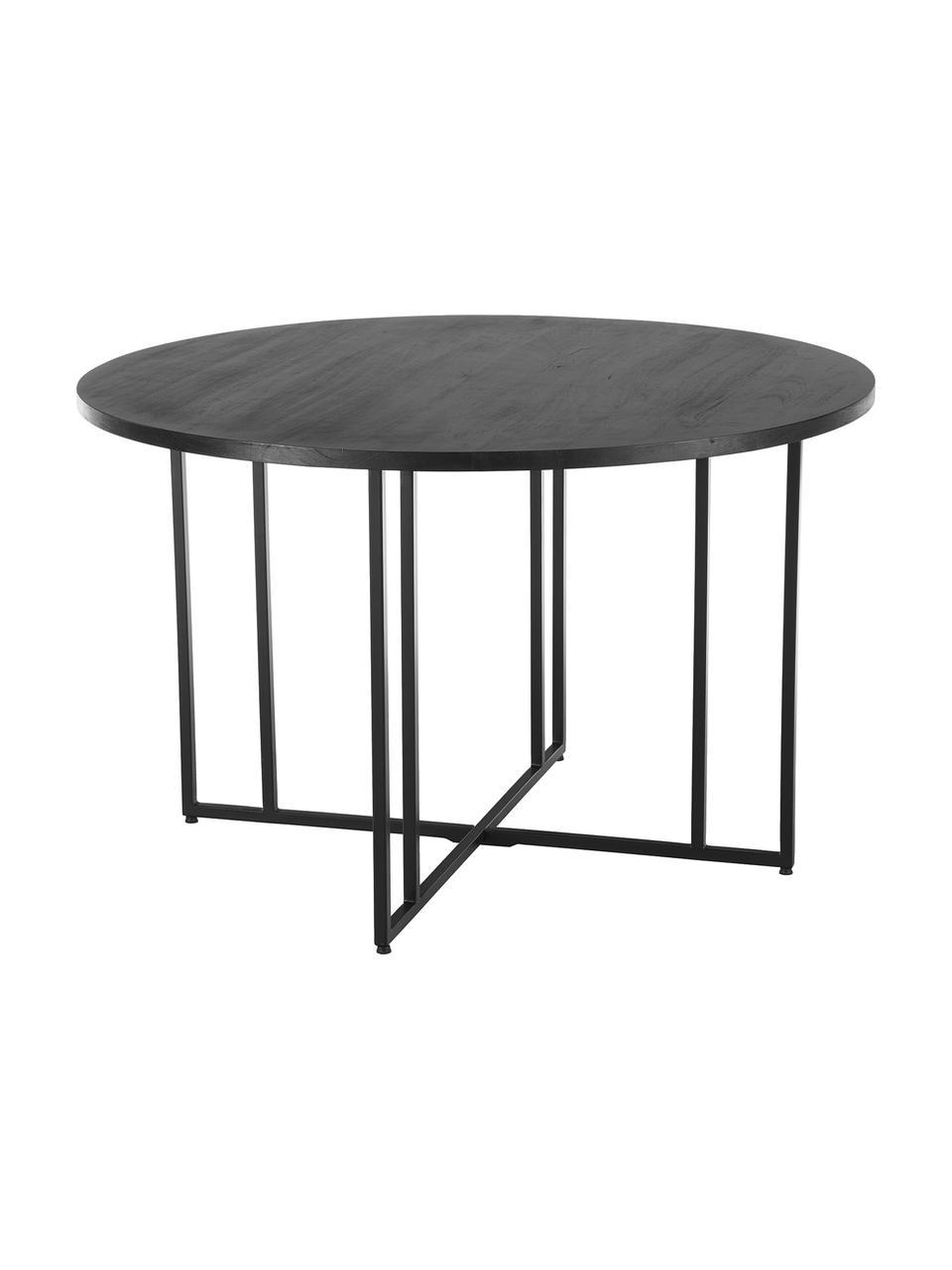 Table ronde bois massif Luca, Bois de manguier, noir laqué