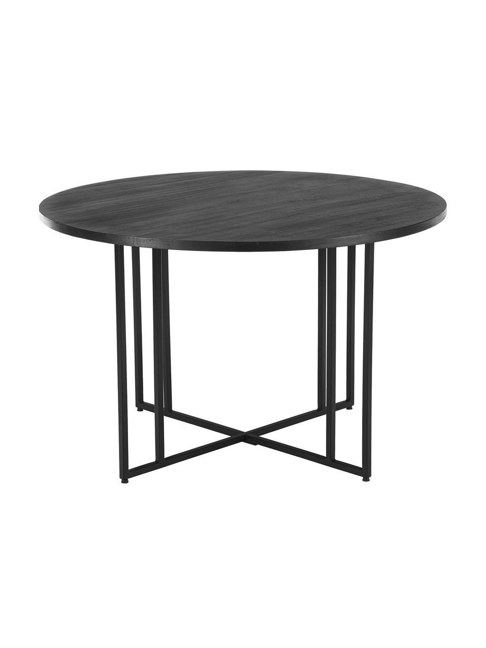 Ronde massief houten eettafel Luca in zwart, Tafelblad: geborsteld en gelakt mass, Frame: gepoedercoat metaal, Zwart, Ø 140 x H 75 cm