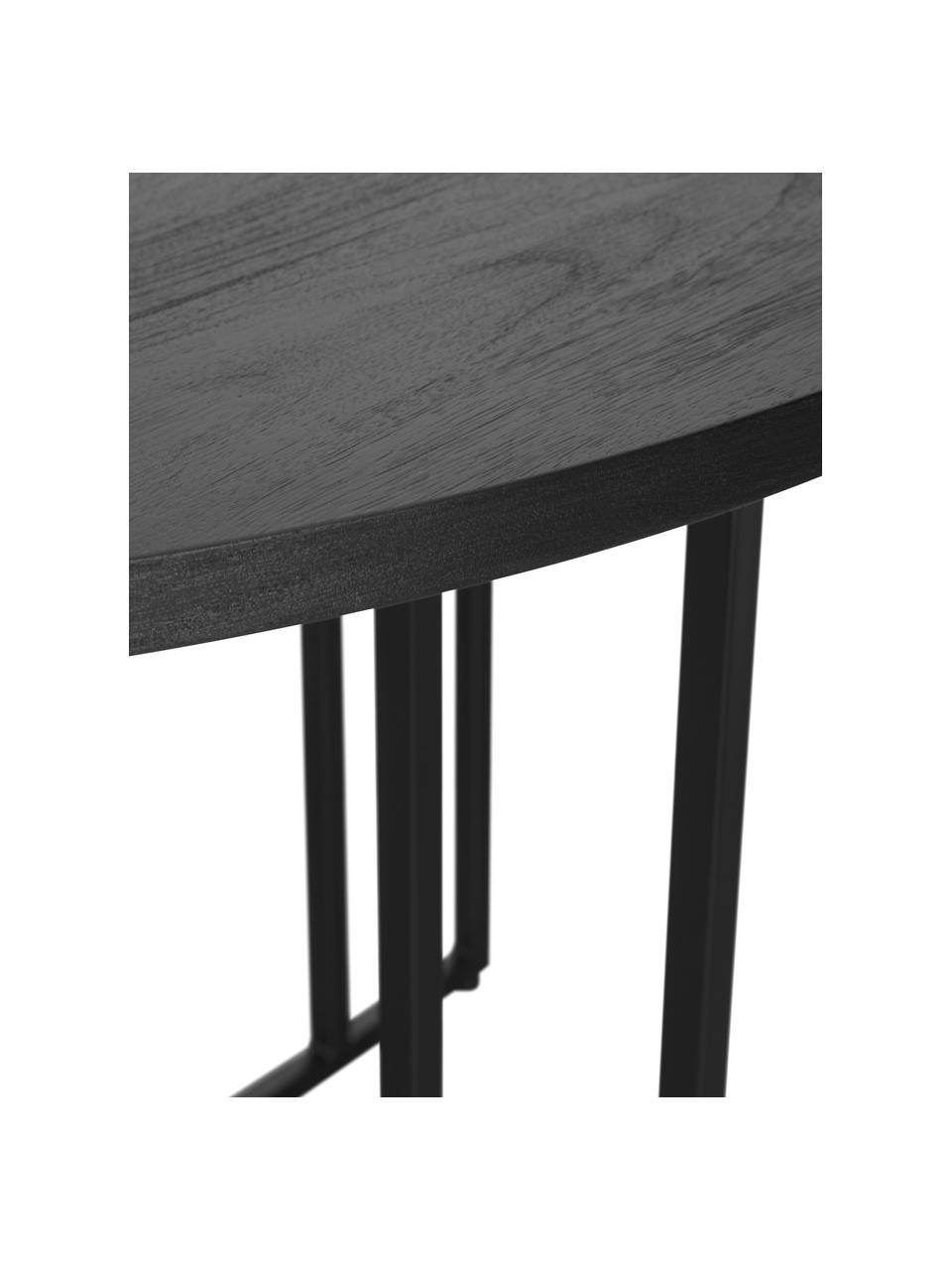 Ronde massief houten eettafel Luca in zwart, Tafelblad: geborsteld en gelakt mass, Frame: gepoedercoat metaal, Tafelblad: zwart gelakt mangohout. Frame: mat zwart, Ø 120 x H 75 cm