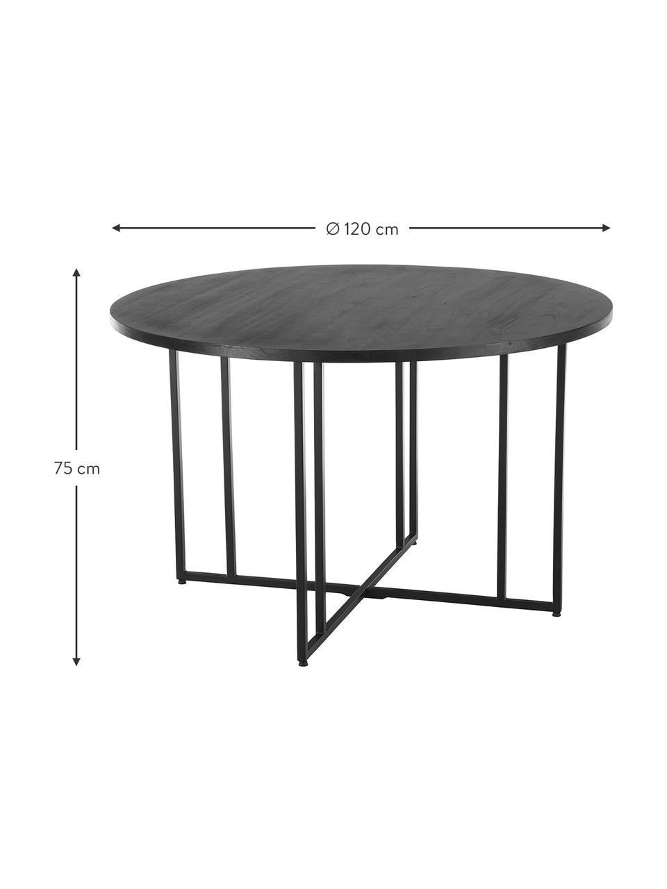 Runder Esstisch mit Massivholzplatte, Tischplatte: Massives Mangoholz, gebür, Gestell: Metall, pulverbeschichtet, Mangoholz, schwarz lackiert, Ø 140 x H 75 cm