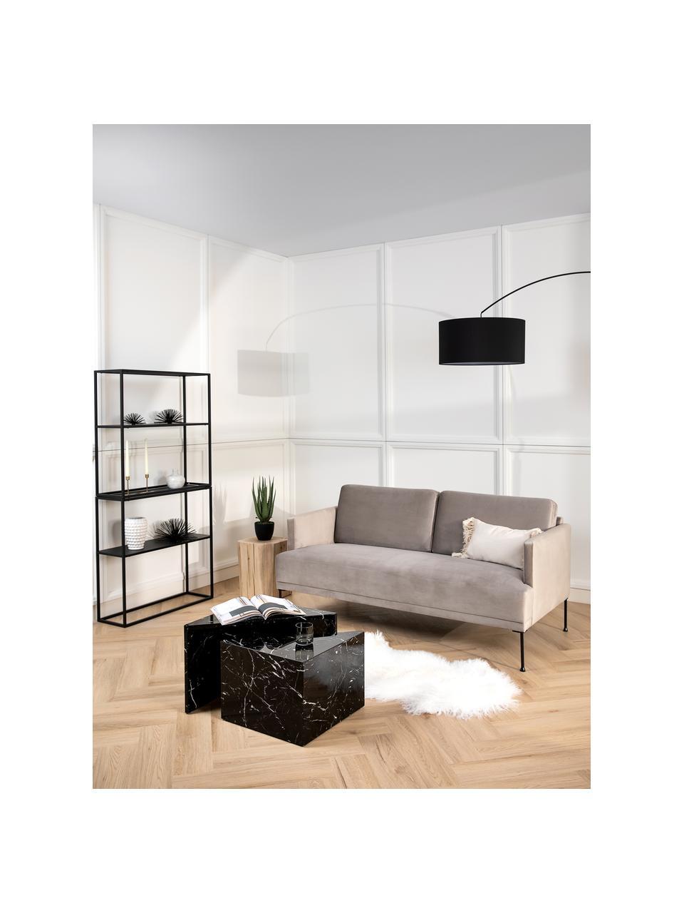Samt-Sofa Fluente (2-Sitzer) in Beige mit Metall-Füßen, Bezug: Samt (Hochwertiger Polyes, Gestell: Massives Kiefernholz, Füße: Metall, pulverbeschichtet, Samt Beige, B 166 x T 85 cm